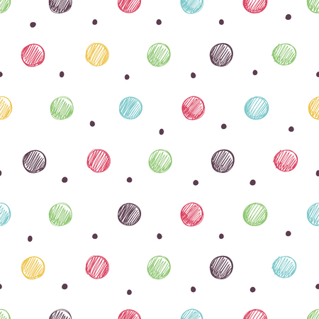 Simple seamless pattern in bright polka dots.  イラスト・ベクター素材