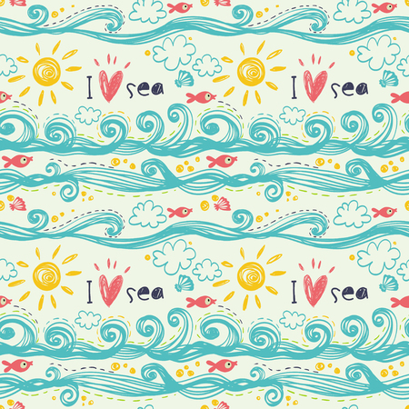 I love sea. Seamless vector pattern with sea, waves, ship, lifebuoy, anchor, heart.