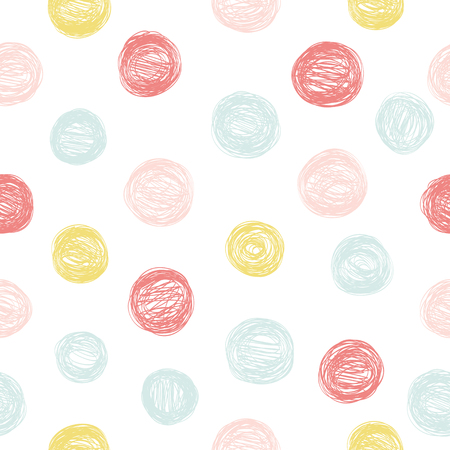 Simple seamless pattern with polka dots in pastel colors.