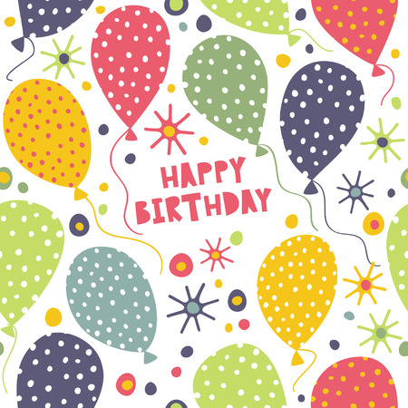 Happy birthday. Seamless pattern with balloons.