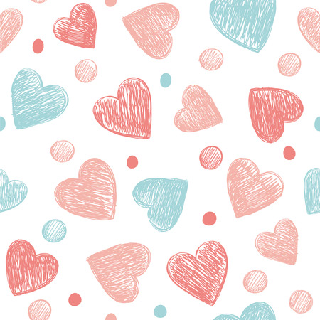Romantic background with hearts and polka dots. Great for Baby, Valentine's Day, Mother's Day, wedding, scrapbooking, surface textures.
