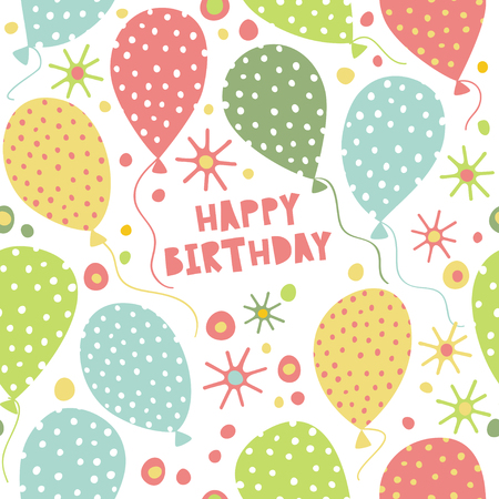 Seamless vector pattern with balloons, stars and confetti. Cute pattern for birthday. Illustration