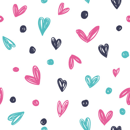 Funny hearts. Seamless vector pattern for your design. Great for Baby, Valentines Day, Mothers Day, wedding, scrapbook, surface textures.