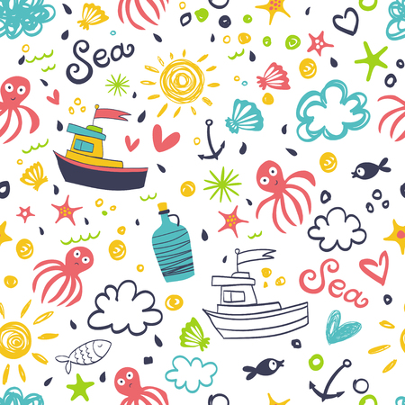 ship anchor: A seamless pattern with a ship, an anchor, an octopus and waves. Illustration