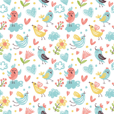 Seamless vector background with birds and flowers. Children style.