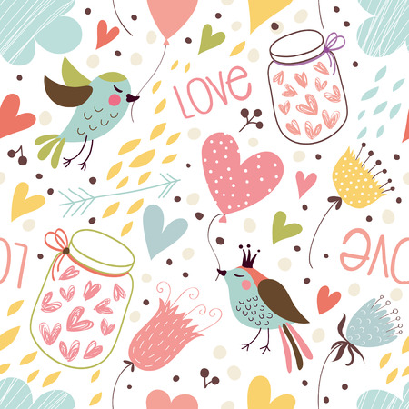 Seamless background with hearts, jars with hearts, birds and flowers.
