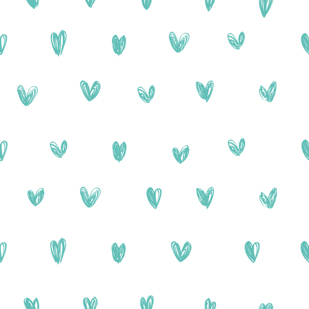 Seamless vector background with blue hearts on a white background. Hand drawn.