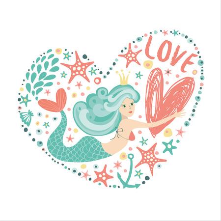 Romantic and cute print with a mermaid, big heart, seaweed, mossy stars and seashells.