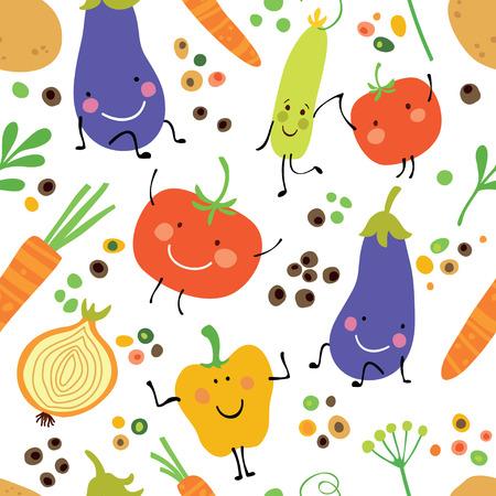 Nahtloses Muster mit Frischgemüse: Tomaten, Kartoffeln, Auberginen, Zwiebeln, Gemüsepaprika und Gewürze. Standard-Bild - 83650407