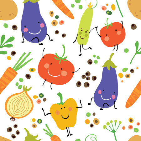 Seamless pattern with fresh vegetables: tomato, potatoes, eggplant, onion, sweet pepper and spices.
