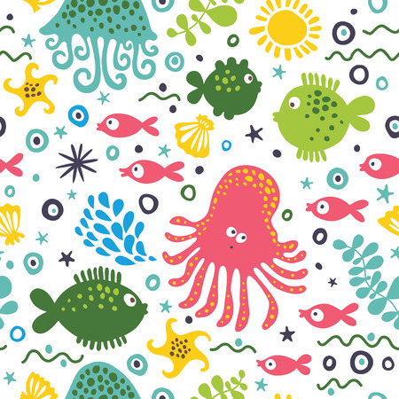 Seamless vector pattern with marine inhabitants: octopus, fish, jellyfish and algae.