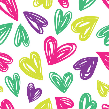 Seamless background with bright hearts. Childrens style