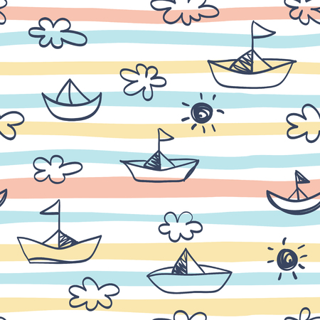 Seamless pattern with ships on striped background.