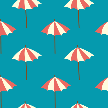 Simple seamless pattern with beach umbrellas on a blue background.