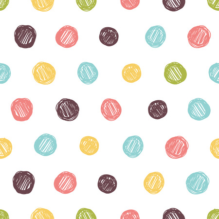 Simple seamless pattern with polka dots in bright colors.