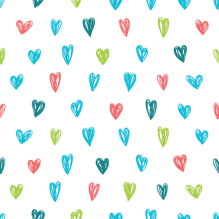 Vector pattern with hearts and polka dots. Great for Baby, Valentines Day, Mothers Day, wedding, scrapbook, surface textures.