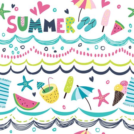 cartoon umbrella: Seamless pattern in the summer style. Illustration