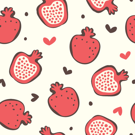 Garnet simple seamless pattern Red claret fruit isolated on white background.