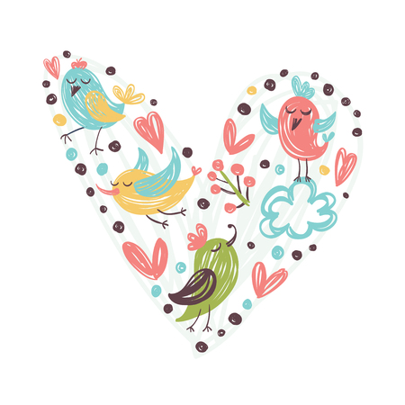 Hand drawn flowers and birds. Vector illustration for Valentine`s day.