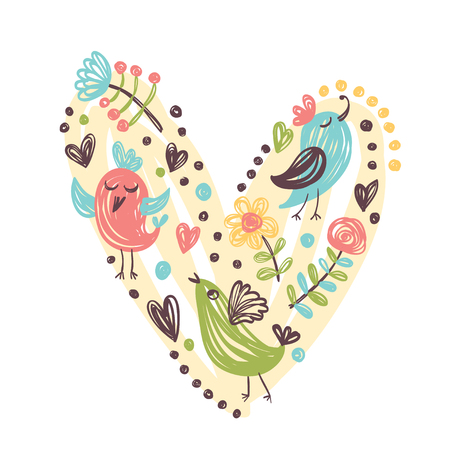 water s: Hand drawn flowers and birds. Vector illustration for Valentine`s day.