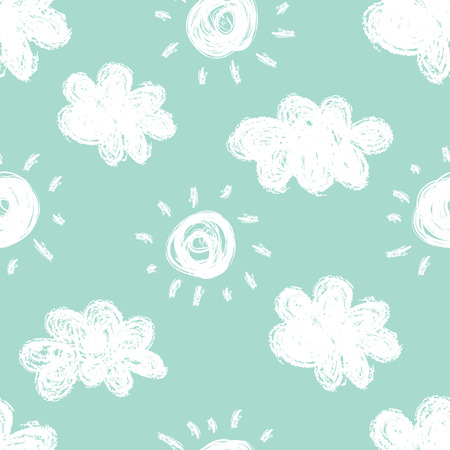 Seamless pattern with clouds on a mint background.
