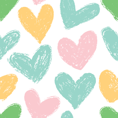 Simple seamless background with hearts in pastel colors.