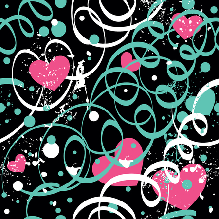 Seamless vector background with serpentine, hearts and blots.
