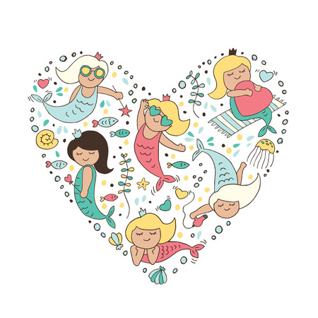 Big heart with a mermaid. Romantic print for your design.