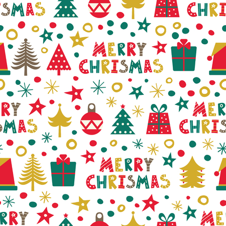 Merry Christmas. Seamless pattern with Christmas trees, presents and Christmas decorations.