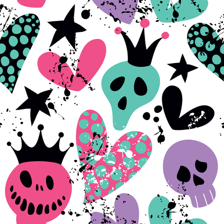 Happy Halloween. Seamless pattern with skulls, hearts and blots.