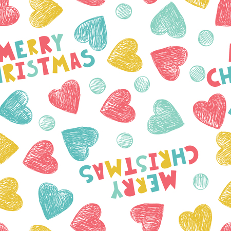 Merry Christmas. Seamless pattern with hearts in pastel colors. Illustration