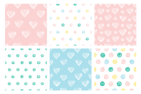 A set of 6 simple seamless patterns in pastel colors. Illustration