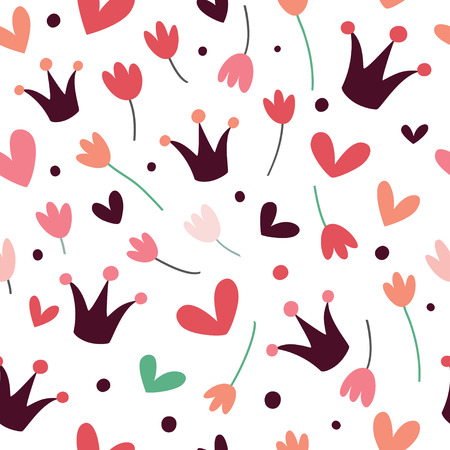 Seamless pattern with crowns, tulips and hearts. Illustration