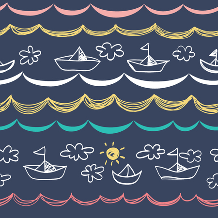 Seamless background with white boats. Children style. Dark blue background.