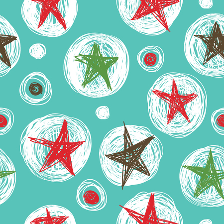 Simple seamless pattern with the stars on a turquoise background.