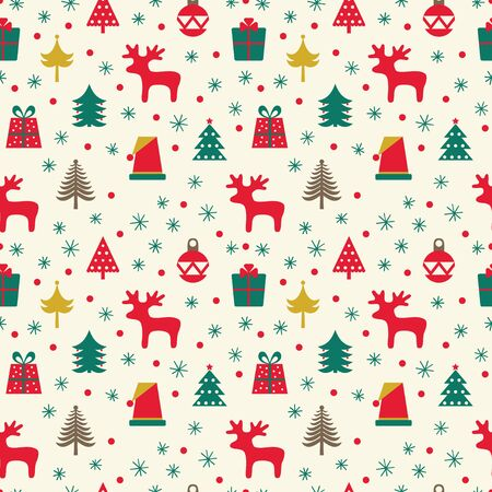 Christmas pattern with deer, trees and gifts. Vektorové ilustrace