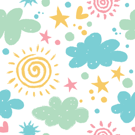 Cute pattern with clouds and sun. Seamless background in pastel colors.