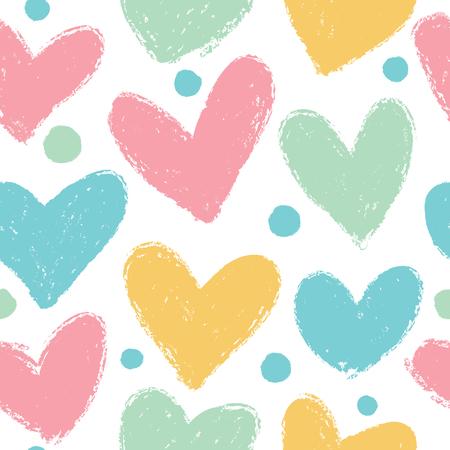 心でかわいいパターン。パステル カラーのベクトルのシームレスな背景。