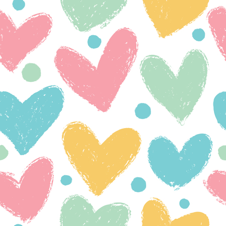 Cute pattern with hearts. Vector seamless background in pastel colors. Ilustração