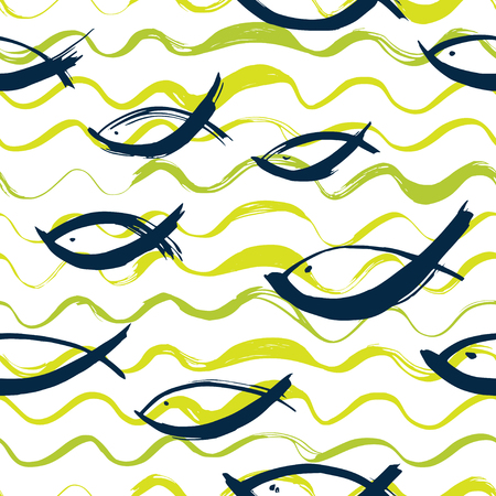 Marine background with fish and waves Pattern painted with a dry brush.
