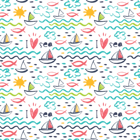 I love the sea. A seamless pattern with marine themes: ships, fish, sea, waves and bright sun. Ilustração