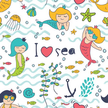 Seamless background with cute little mermaid and I love the sea inscription. Ilustração