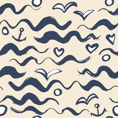 Simple background with a wave of the sea anchor and seagulls. Ilustracja