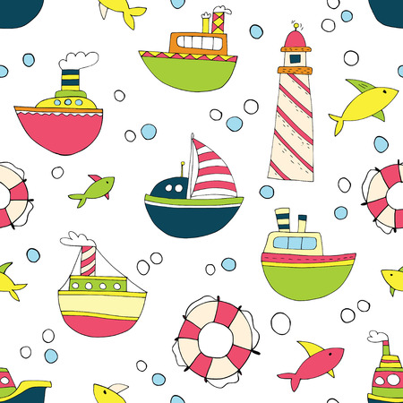 Cute childrens seamless hand drawn sailing-ship pattern with colorful ships. Nice sea life for textile, wrapping paper, wallpaper, swimming cloth.