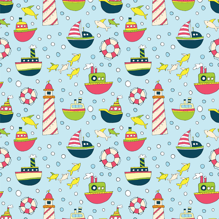 Seamless pattern with cartoon ships, fish and a lighthouse on a blue background.