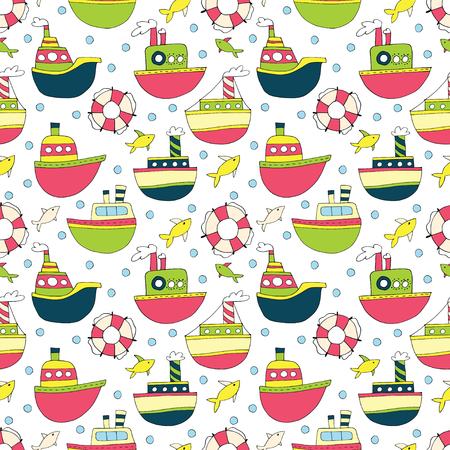 Seamless background with cartoon ships and lifebuoys. Cute kids ship pattern for girls and boys.