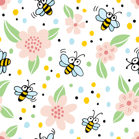 Seamless background with cartoon bees and flowers.