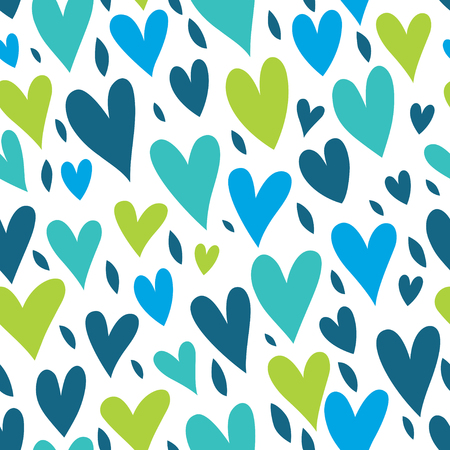 Seamless background with hearts in blue, green and turquoise tones.