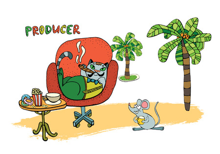 Illustration of a set of cute cartoon cats for you design.