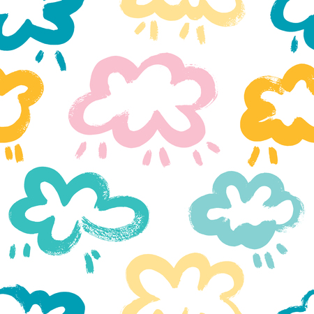 Cute seamless pattern with sun and clouds.